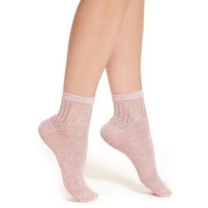 Free People Pink Roseland Glitter Socks NWOT
